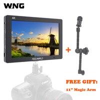 WNG Feelworld T7 7 дюймов ips 4 К монитор HDMI 1920x1200 одноцветное Алюминий Frame Камера поле монитор с пиковый фокус накладные Цвета