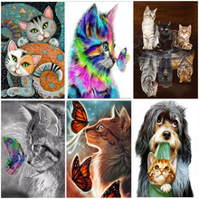 Cartoon Cats butterfly 5D DIY Diamond Painting Animals Full Round Embroidery Crystal Mosaic Cross stitch Adults Art New Arrival