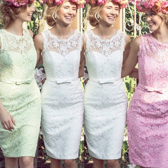 New 2016 Lace Short Bridesmaid Dresses Junior Bridesmaid Gowns ...