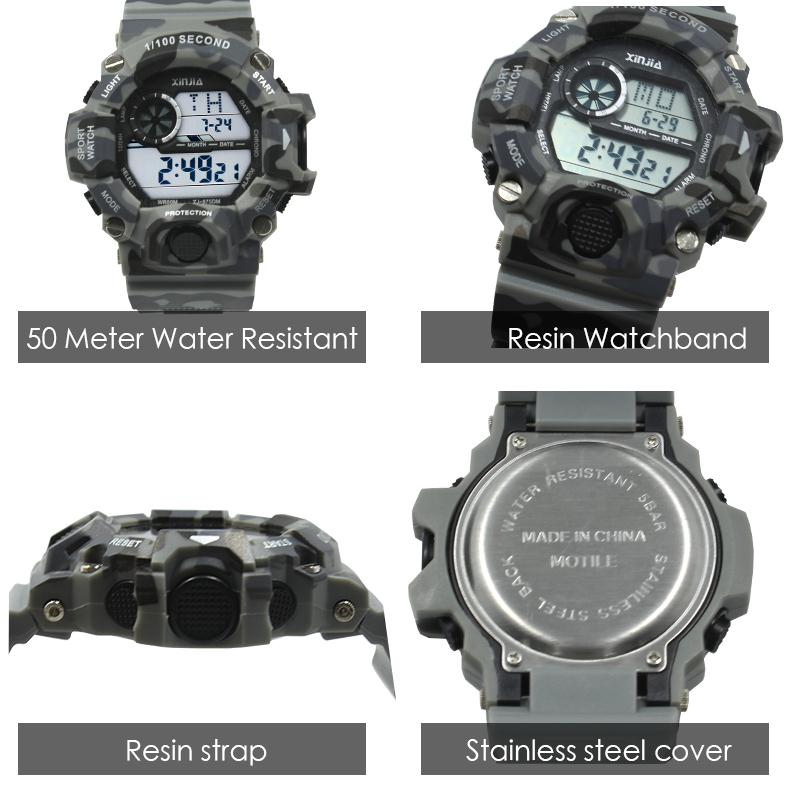 reloj 7c584 8f69b US $14.6 15% OFF|XINJIA Men Digital Sports Watches Luxury Brand Reloj para  hombres Camouflage Military Watches LED Water resistant 50 meters-in ...