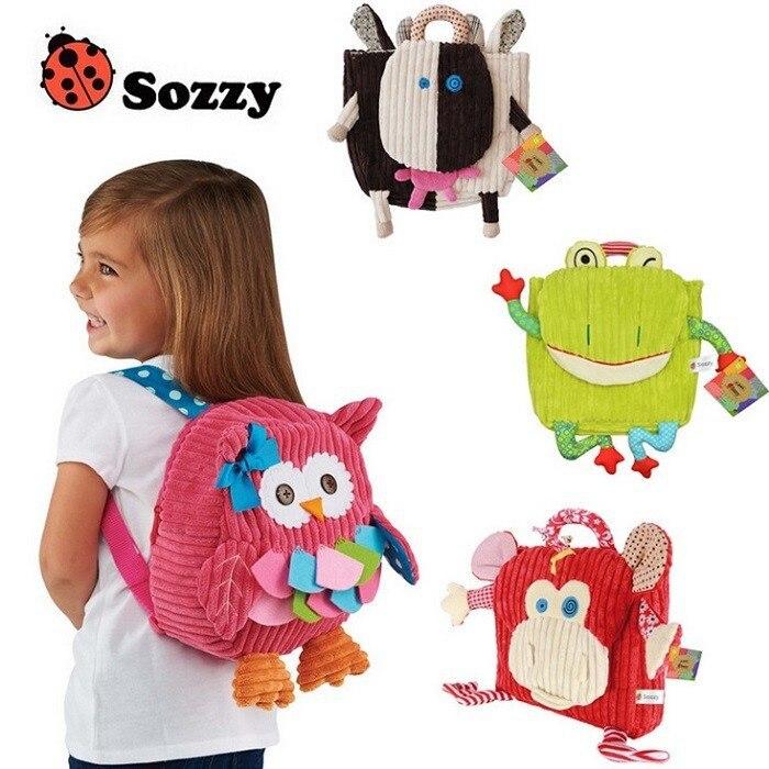 Cute Kid Plush School Backpacks 25cm Animal Figure Bag Kid Girls Boys Gifts Toy Owl Cow Frog Monkey schoolbag