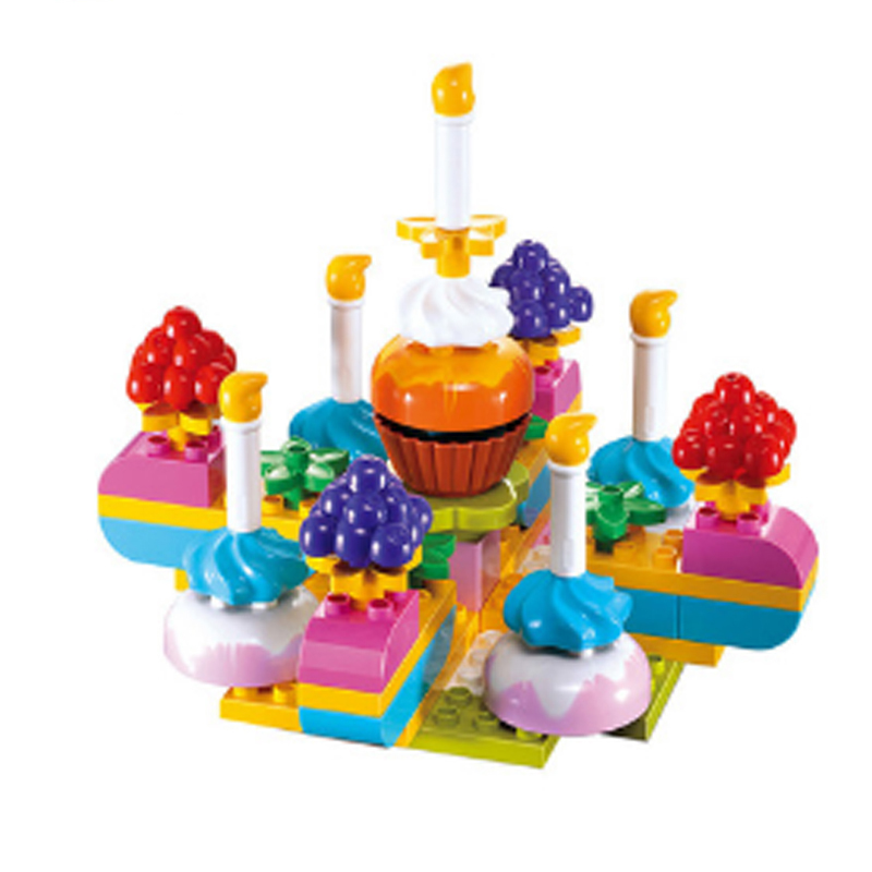 Kids Toys Building Blocks Candy Cake Children Assembling Toy Model Plastic Early Education Hobby Plastic Toy65pcs Birthday Gift