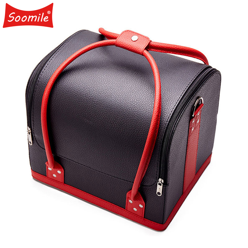 Soomile High capacity multi functional portable cosmetic bag 2019 New professional cosmetic case makeup collection box