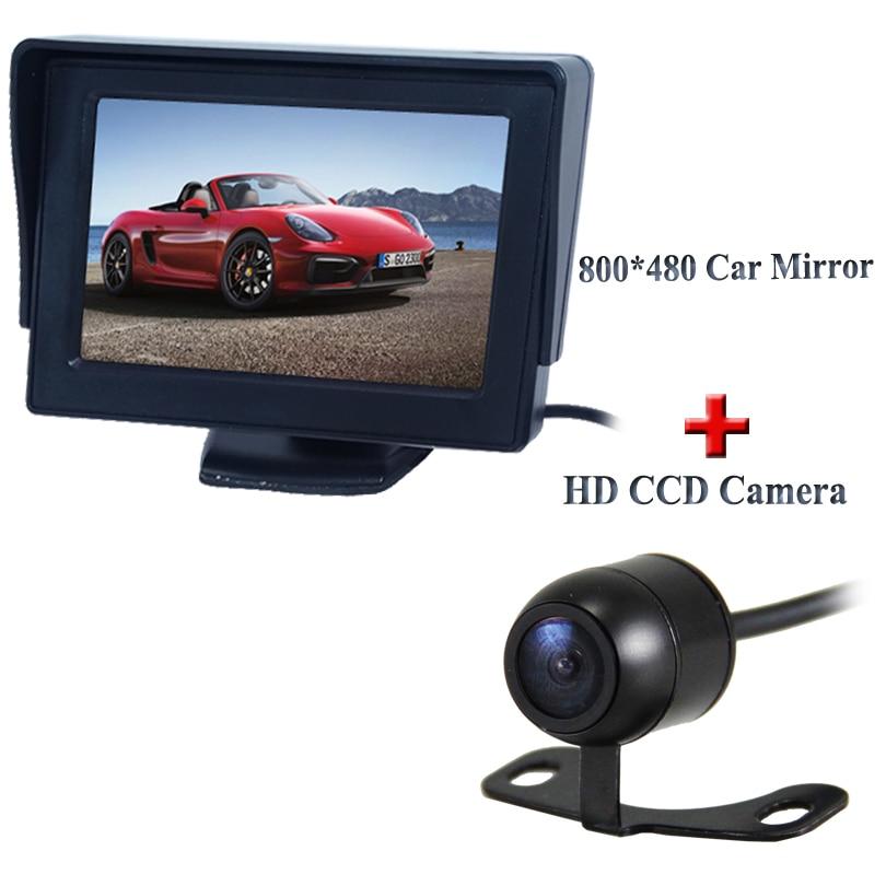 Universel De Voiture Caméra de Recul + 4.3 TFT LCD De Voiture Moniteur HD 170 Angle de sauvegarde caméra 2 en 1 Auto Système D'aide Au Stationnement