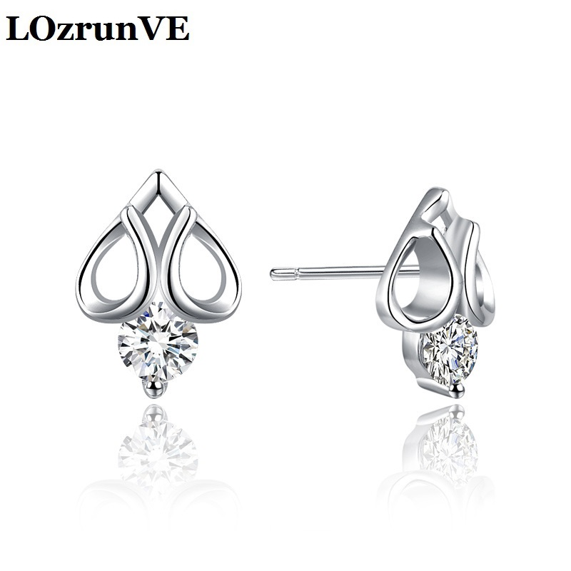 Brincos Real Earings Earrings Lozrunve 2018 S925 Heart Stud Ear Nail Korean Plate Zircon Drill Fashion Lady Ring Manufacturer