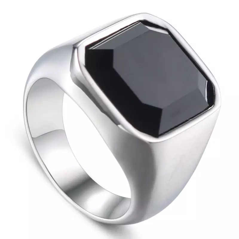 Jing Jiang แหวนผู้ชายแฟชั่น Punk ใหม่โลหะแหวนสแตนเลสเครื่องประดับไทเทเนียม Retro ของขวัญแหวนเครื่องประดับ