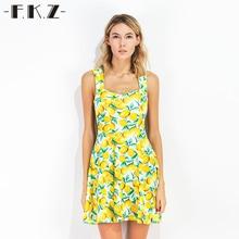 FKZ New Summer Dress Women Fruit Lemon Printed Sleeveless Sexy Dresses Mini Sundress Deep Square Collar Female Dresses SKQ1341#