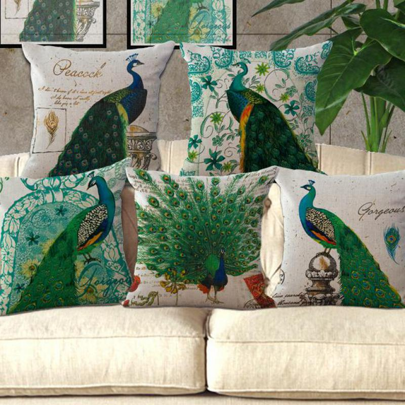 Wholesale Custom <font><b>Elegant</b></font> Green Peacock Linen Cotton Back Cushion <font><b>Home</b></font> <font><b>Decorative</b></font> Sofa Chair Seat Waist Cushion 45*45 Cm