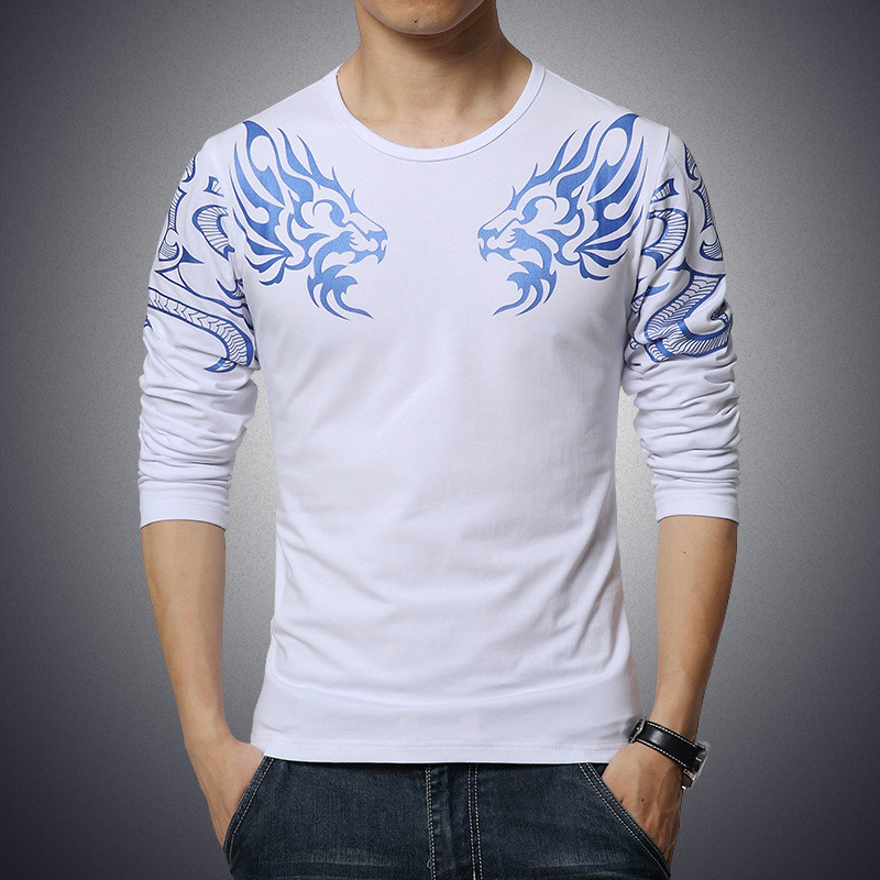 2017 Autumn new high-end men's brand t-shirt fashion Slim Dragon printing atmosphere t shirt Plus size long-sleeved t shirt men 5