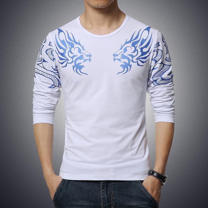 2017 Autumn new high-end men's brand t-shirt fashion Slim Dragon printing atmosphere t shirt Plus size long-sleeved t shirt men 5