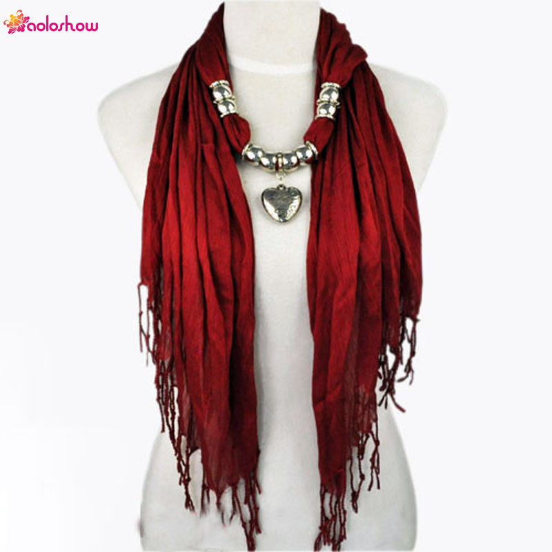 AOLOSHOW Women Scarf necklace with Silver Jewelry Heart bead charm pendant scarves ashion scarf for women female scarf NL-1802