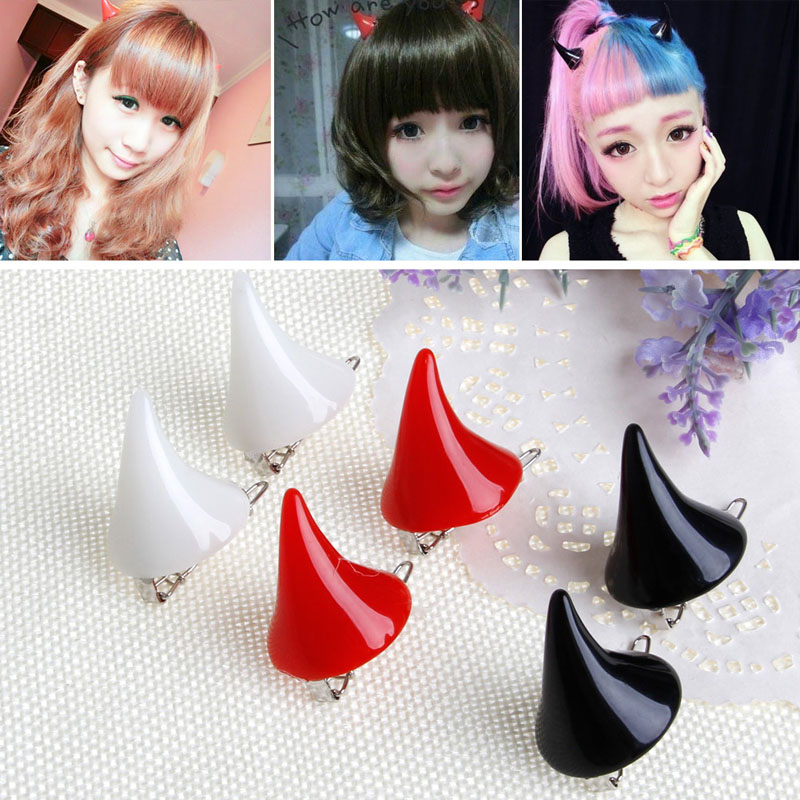 1 Pair New Stereo Devil Horn Ear Clip Chic Halloween Cosplay Hair Clip Hairpin