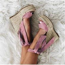 Hot Selling Pink Black Suede Tie-up Wedge Sandals Cut-out Peep Toe Weave Braid High Platform Ladies Customized Drop Ship