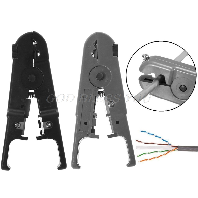 RJ45 RJ11 Cat6 Cat5 Punch Down Network LAN UTP Cable Wire Stripper Cutter Plier Black/Gray