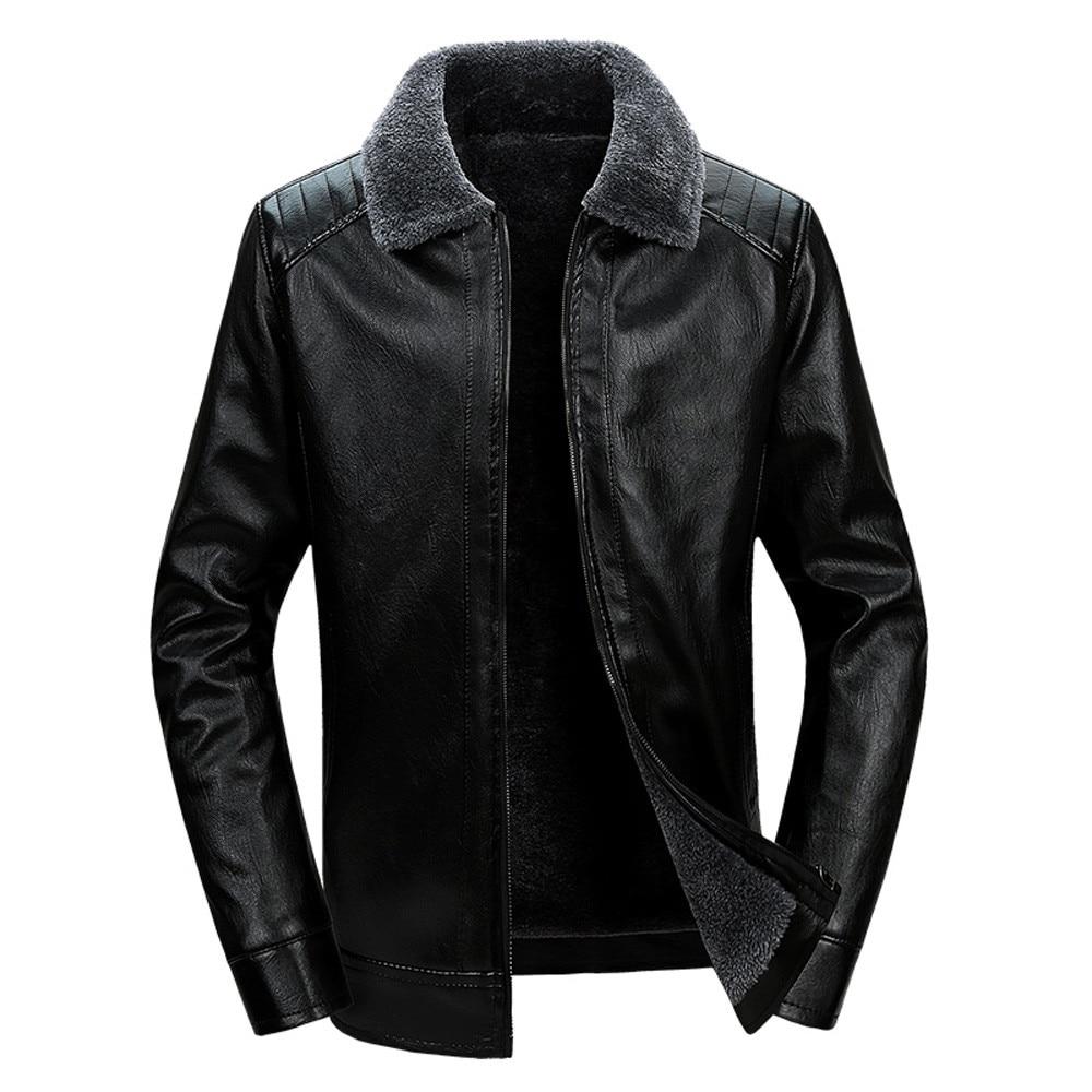 Jacket Sheepskin-Coat Coats Winter Short Man Fashion Black Thick Fleece Turn-Collar-Trench