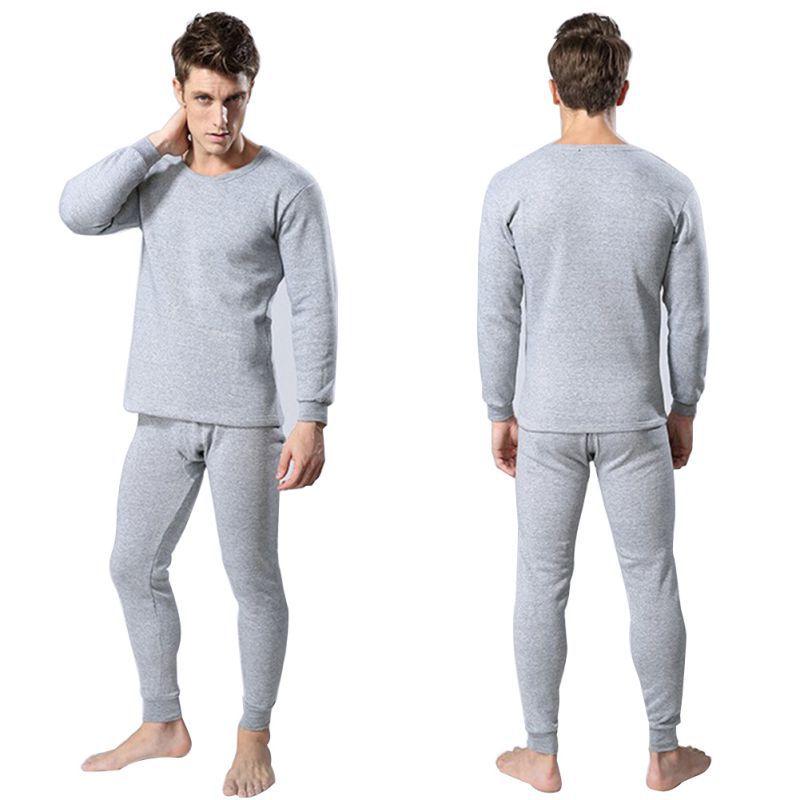 men 2pcs cotton thermal underwear sets winter warm long. Black Bedroom Furniture Sets. Home Design Ideas
