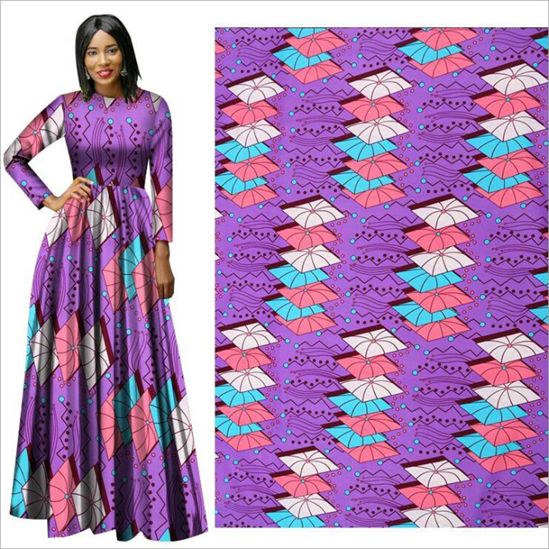 Me-dusa 2019 purple African Print Wax Fabric 100% Polyester Hollandais Wax DIY Dress Suit cloth 6yards/lot high quality(China)