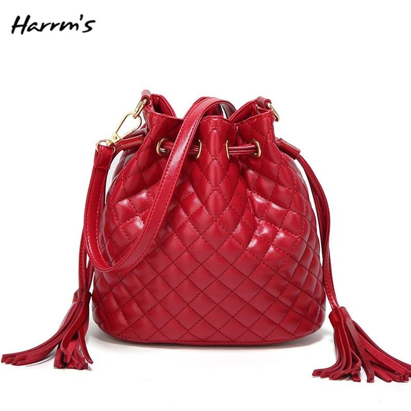 Shoulder Handbags Bucket-Bags Messenger-Bags Vintage Small Women Soft PU Chains Tassel