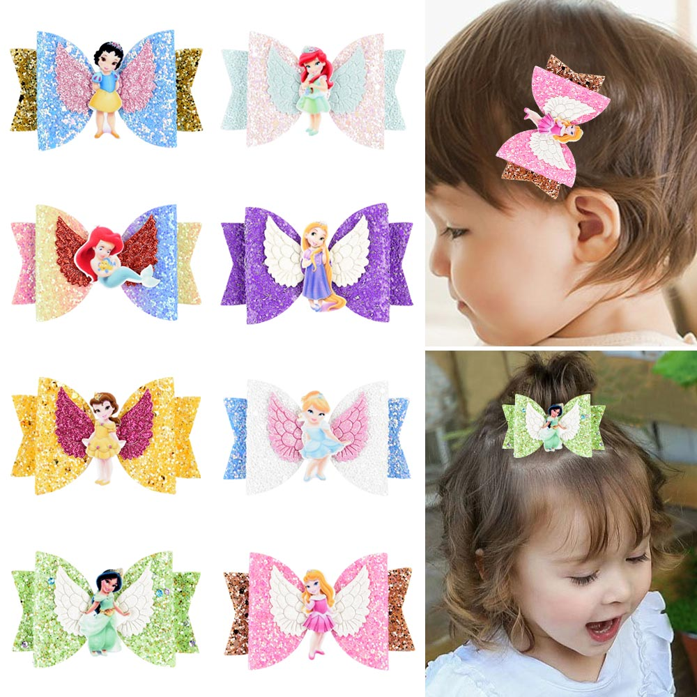 Princess Hairgrips Glitter Hair Bows With Clip Dance Party Bow Hair Clip Girls Hair Accessories