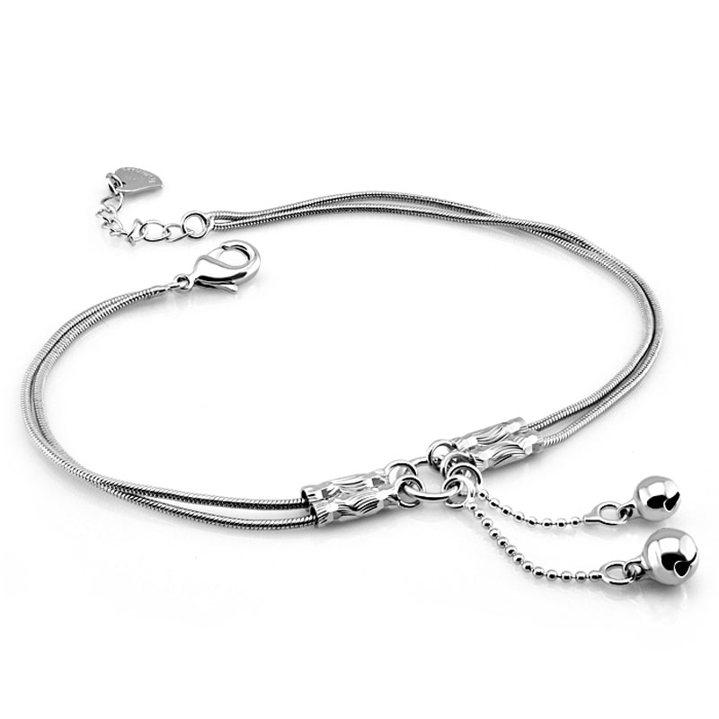 Fashion cute girl bell anklets.Women solid 925 sterling silver snake chain anklets.Contracted double chain 27cm anklets. jewelry