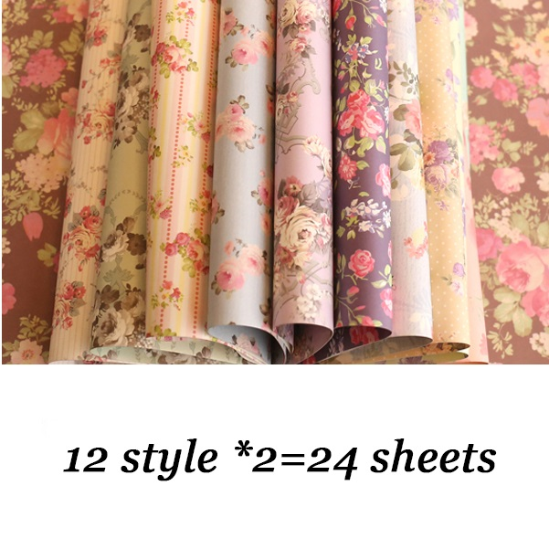 24 Sheets Lot DIY Pretty Floral Pattern Wrapping Paper Creative Papercraft Art Handmade Scrapbooking Use