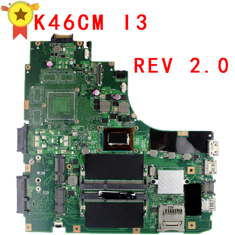 For Asus K46CA <font><b>K46CM</b></font> S46C A46C K46CB Laptop Motherboard With I3 CPu CPU REV.2.0 Mainboard 100% Fully Tested image