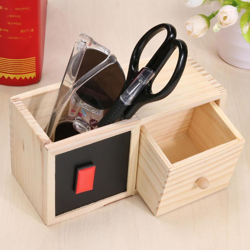 Wooden Office Desk Organizer Box Blackboard Design Stationery Pens Pencils Holder Container with Drawer Home Storage Box bamboo pattern wooden small gadgets pencils rulers pens holder