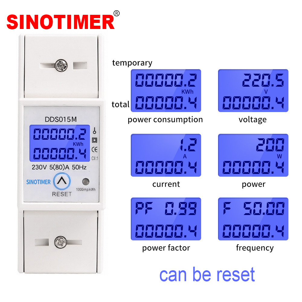 DIN Rail 5-80A 230V AC 50Hz Single Phase Wattmeter Power Consumption Watt Electric Energy Meter KWh With Reset Function