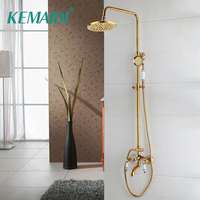 KEMAIDI Bathroom Shower Faucet Shower Head Gold Stainless Steel Wall Mount W/ Hand Shower Para Bath Shower Mixer Water Tap