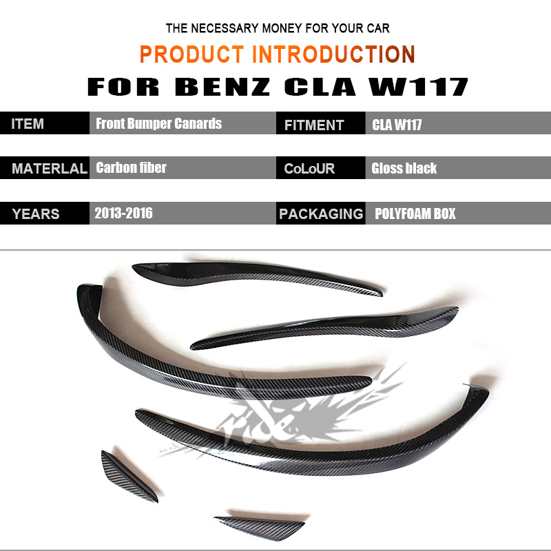 W117 6pcs Gloss carbon fiber front bumper spoiler flap canard splitters for Mercedes Benz W117 CLA200 CLA250 CLA45AMG 2013 2016-in Bumpers from Automobiles & Motorcycles    2