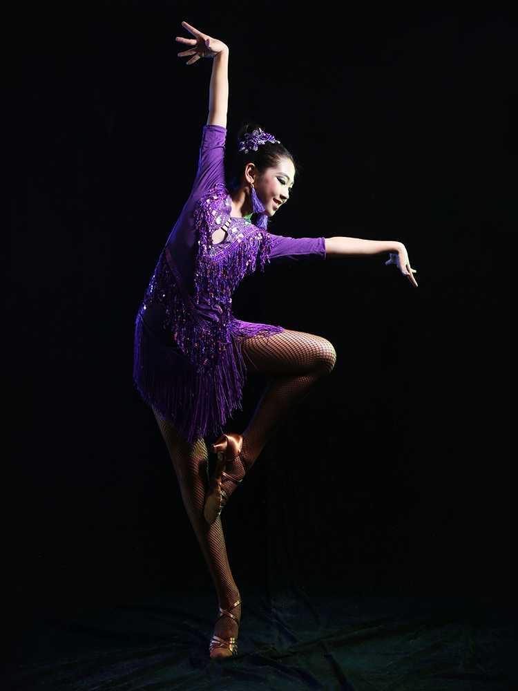 Neue Verkauf Junior Kind Kinder Mädchen Latin Dance Kostüme Pailletten Fringe Latin Dance Kleid Bachata Latin Salsa Kleider