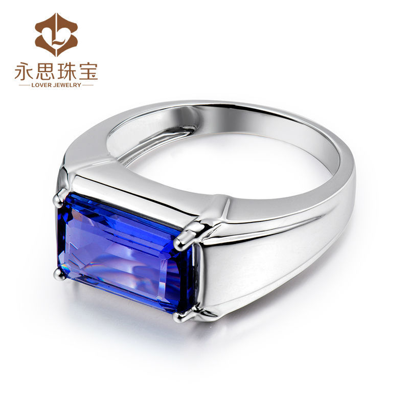 gold natural wedding s pin real jewelry fine ring tanzanite white gift mens luxury for men