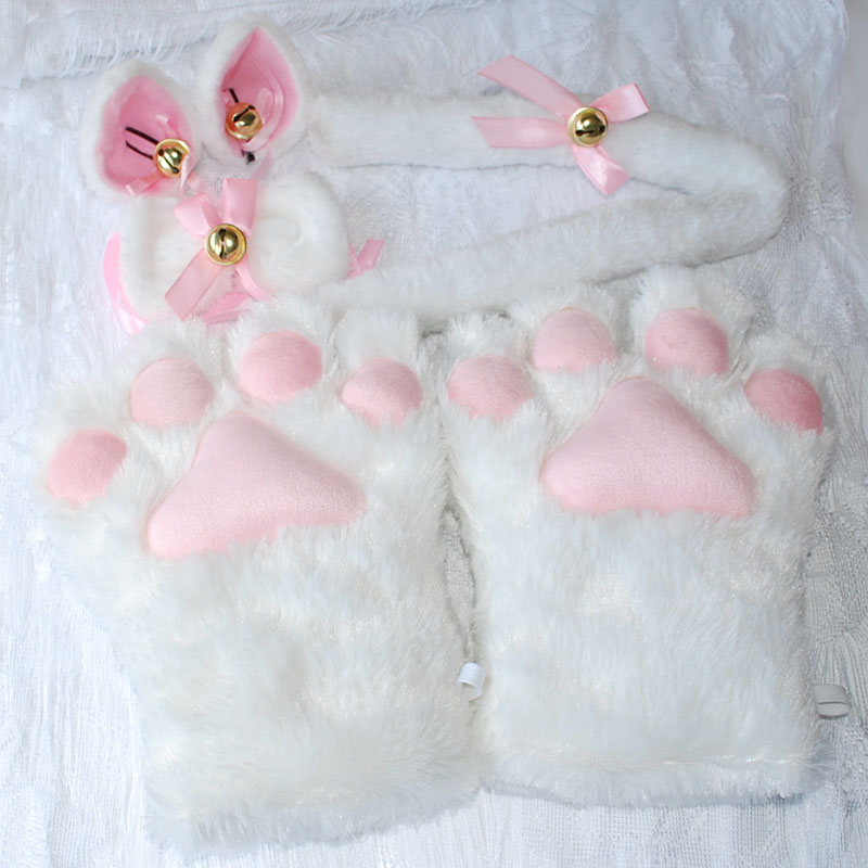 1Set-New-Anime-Cosplay-Costume-Sweet-Cat-Ears-Plush-Paw-Claw-Gloves-Tail-Bow-tie-Halloween (5)