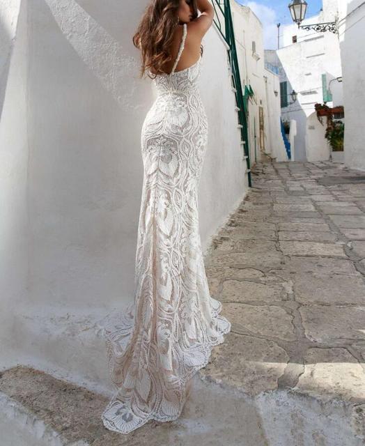 Eslieb Sexy Sheath Lace Wedding Dresses 2019 V-neck Backless wedding Dress  Vestido de Noiva e597bf1b8f19
