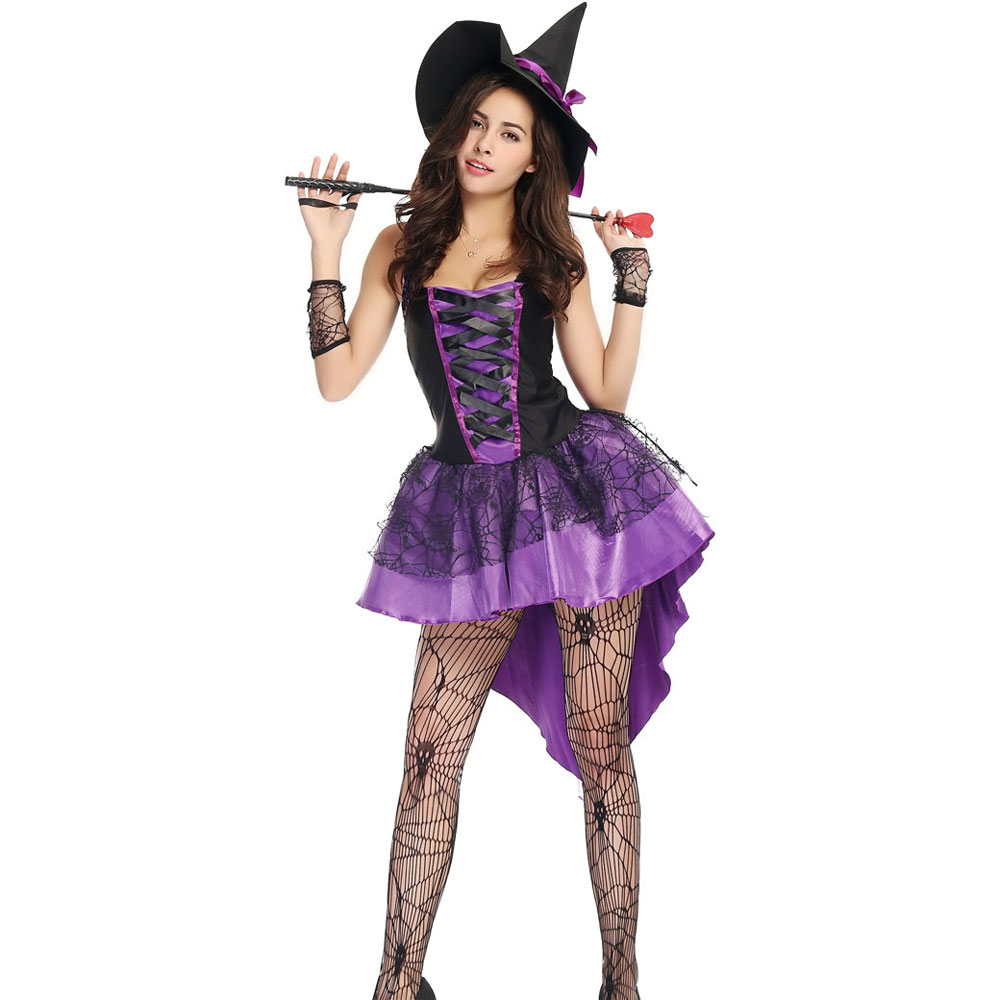 Aliexpress.com   Buy S XXL Plus Size Large Purple Halloween Witch Costume  Costumes for Women Adult Adulto Fantasia Dress Short Hat Cosplay Clothing  from ... 64ae1b36dd5e