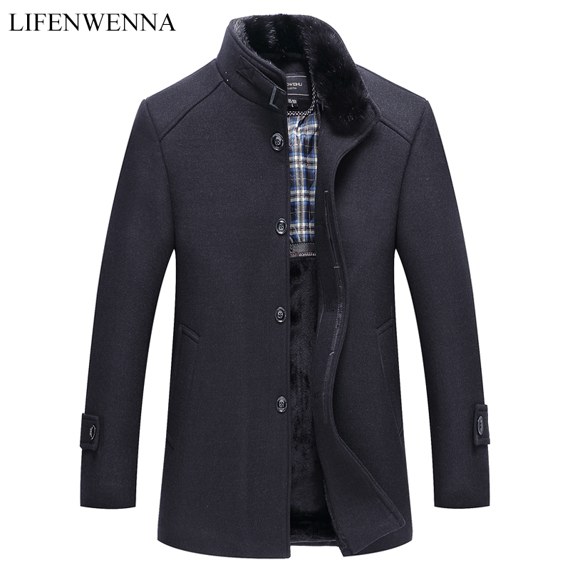 Autumn Winter Men's Woolen Coat New Fashion Stand Collar Warm Think Jacket Coat Solid Black Casual Wool Trench Coats Men(China)