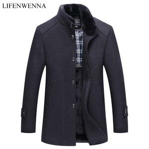 Image 1 - סתיו חורף גברים של צמר מעיל חדש אופנה צווארון עומד חם חושב מעיל מעיל מוצק שחור מזדמן צמר תעלת מעילי גברים