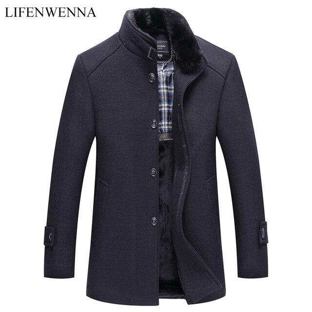 Automne hiver hommes manteau en laine nouvelle mode col montant chaud penser veste manteau solide décontracté laine Trench manteaux hommes