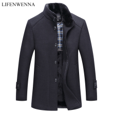 Autumn Winter Mens Woolen Coat New Fashion Stand Collar Warm Think Jacket Coat Solid Black Casual Wool Trench Coats Men