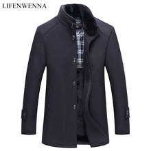 Herbst Winter herren Woll Mantel Neue Mode Stehen Kragen Warme Denken Jacke Mantel Solid Black Casual Wolle Graben Mäntel männer