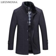 Sonbahar Kış erkek Yün Ceket Yeni Moda Standı Yaka Sıcak Düşünüyorum Ceket Ceket Katı Siyah Rahat Yün trençkotlar Erkekler