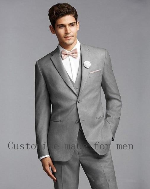 Alta calidad traje gris claro muesca solapa dos Botones hombres Trajes boda  prom ttuxedoes traje Homme 0729b531124