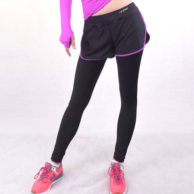 Women Workout Sports Leggings With Shorts Skirt Trousers