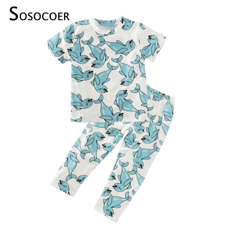 SOSOCOER Boy Clothing Set 2017 Cartoon Dolphin T Shirts+Pants 2pcs Girl Clothing Sets Summer Style Animal Fish Kids Baby Clothes clearance 2pcs set baby boy clothes cartoon pattern baby clothing sets summer black white top pant for newborns bebk giyim
