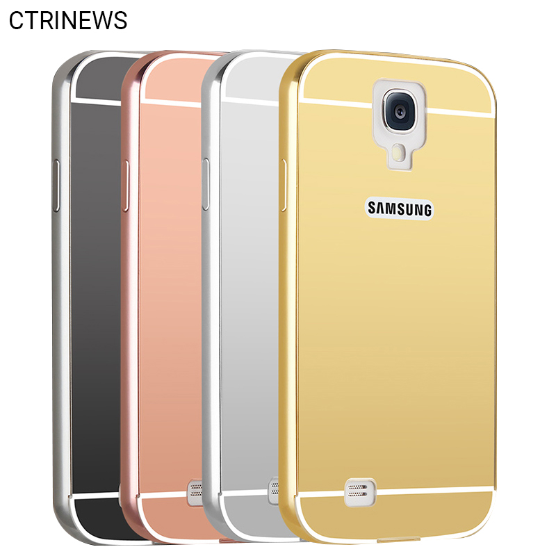 For Galaxy S4 case Luxury Mirror Aluminum Bumper Phone Case For Samsung galaxy S4 S5 S6 S6 edge note 2 Metal Frame Back Cover