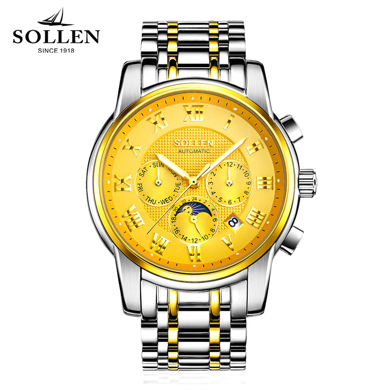 Top Brand Fashion Luxury SOLLEN Mens Business Mechanical Watches Full Steel Waterproof Watch Men Moon phase Automatic Wristwatch sollen mens watches top brand luxury moon phase automatic mechanical watch men casual fashion leather strap skeleton wristwatch