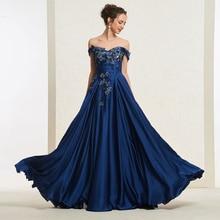 Tanpell Off the Shoulder Prom Dress Sleeveless Zipper Up Appliques Women Formal Floor Length A Line
