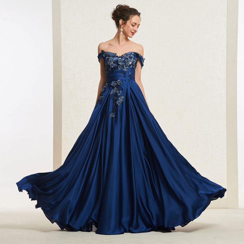 Tanpell Off the Shoulder   Prom     Dress   Sleeveless Zipper Up Appliques Women Formal Floor Length A Line   Prom     Dress