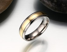 Free Custom Engraving 6mm Men's Two Tone Silver Gold Personalized Wedding Rings in Titanium Steel