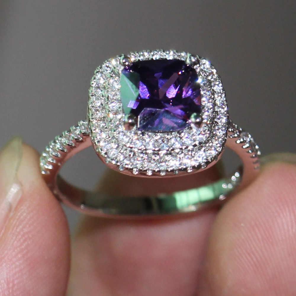 Choucong 3ct фиолетовый 5A циркон камень 925 пробы серебро Женское Обручальное кольцо Размер США 5-11 подарок